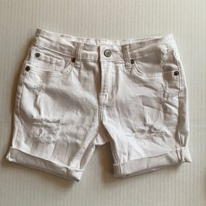 7 For All Mankind White Distressed Jean Shorts